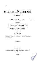 La contre-révolution en Alsace de 1789 à 1793