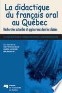 La didactique du français oral au Québec