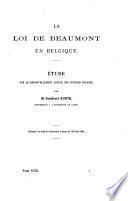 La loi de Beaumont en Belgique