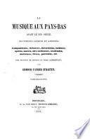 La musique aux Pays-Bas avant le XIX ̊siècle