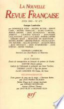 La Nouvelle Revue Française N° 473