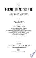 La poésie du moyen âge, leçons et lectures