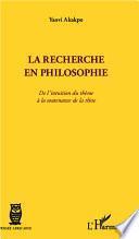 La recherche en philosophie