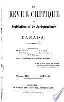 La Revue critique de législation det de jurisprudence du Canada
