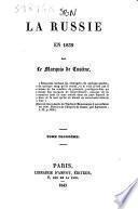 La Russie en 1839 par le marquis De Custine
