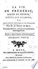 La vie de Frédéric, baron de Trenck