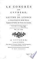 Le congrès de Cythère, et lettre de Léonce à Erotique son fils
