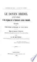 Le doyen Bridel (1757-1845) et les origines de la littérature suisse romande