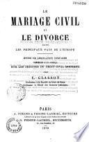 Le mariage civil et le divorce dans les principaux pays de l'Europe