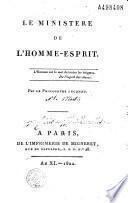 Le Ministère de l'homme-esprit... Par le Philosophe [Inconnu i. e. L. C. de Saint-Martin]