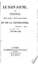 Le Nain jaune, ou Journal des arts, des sciences et de la littérature