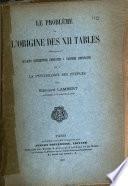 Le problème de l'origine des XII tables