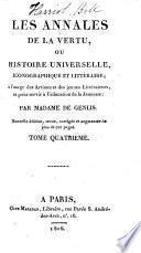 Les annales de la vertu, ou, Histoire universelle, iconographique et littéraire