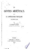 Les contes orientaux dans la littérature française du moyen age