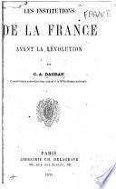 Les institutions de la France avant la révolution