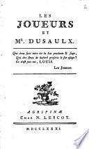 Les joueurs et Mr. Dusaulx