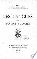 Les langues dans l'Europe nouvelle