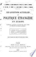 Les questions actuelles de politique étrangère en Europe ...