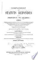 Les statuts refondus de la province de Québec