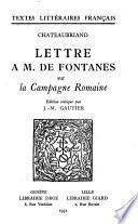 Lettre à M. de Fontanes sur la Campagne Romaine