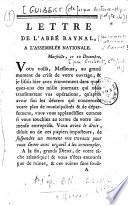 Lettre de l'abbé Raynal, à l'Assemblée nationale.[par J. A. H. de Guibert]