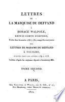 Lettres à Horace Walpole, auxquelles sont jointes des lettres à Voltaire
