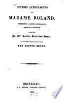 Lettres autographes de Madame Roland