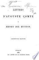 Lettres d'Auguste Comte à Henry Dix Hutton