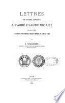 Lettres de divers savants à l'abbé Claude Nicaise