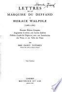 Lettres de la marquise Du Deffand à Horace Walpole (1766-1780)