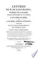 Lettres De M. Saint - Martin