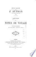 Lettres et notes de voyage