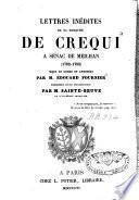 Lettres inédites de la marquise de Crequi à Senac de Meilhan