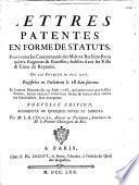 Lettres patentes en forme de statuts, pour toutes les Communautés des Maîtres Barbiers-perru quiers-Baigneurs & etuvistes ...
