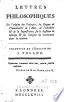 Lettres philosophiques sur l'origine des préjugés, du dogme de l'immortalité de l'âme, de l'idolâtrie et de la superstition