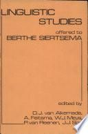 Linguistic Studies Offered to Berthe Siertsema