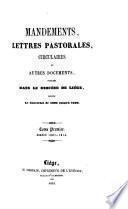 Mandements, lettres pastorales, circulaires et autres documents