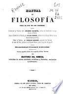 Manual de filosofía para el uso de los colejios [sic]
