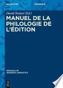 Manuel de la philologie de l'édition