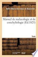 Manuel de malacologie et de conchyliologie