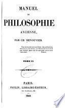 Manuel de philosophie ancienne