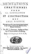 Méditations chrétiennes pour la consolation et l'instruction des âmes pieuses