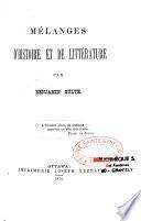 Mélanges d'histoire et de littérature
