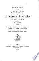 Mélanges de littérature française du moyen âge
