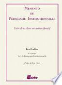 Mémento de pédagogie institutionnelle