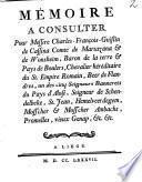 Mémoire à consulter pour Méssire Ch. Fr. G. de Cassina Comte de ... Wonsheim