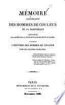 Mémoire justificatif des hommes de couleur de la Martinique condamnés par arrêt de la Cour royale de cette colonie