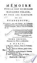 Mémoire pour le chef de brigade Magloire Pélage