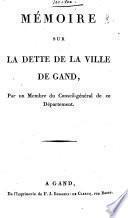 Mémoire sur la dette de la Ville de Gand