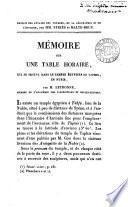 Mémoire sur une table horaire, qui se trouve dans le temple égyptien de Taphis